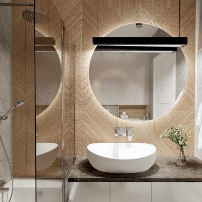 Łazienka w bloku z drewnem i szarością