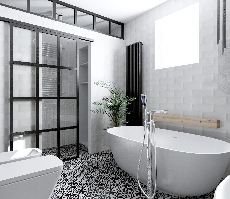 Industrialna łazienka z marokańskimi akcentami