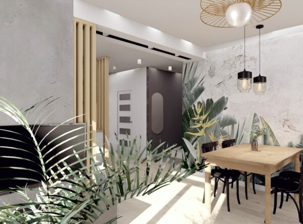 Salon z aneksem kuchennym i roślinną tapetą