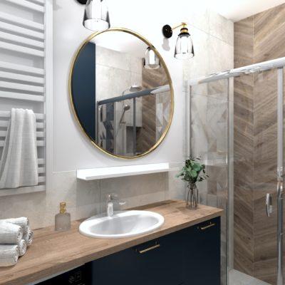Jasna łazienka z okrągłym lustrem