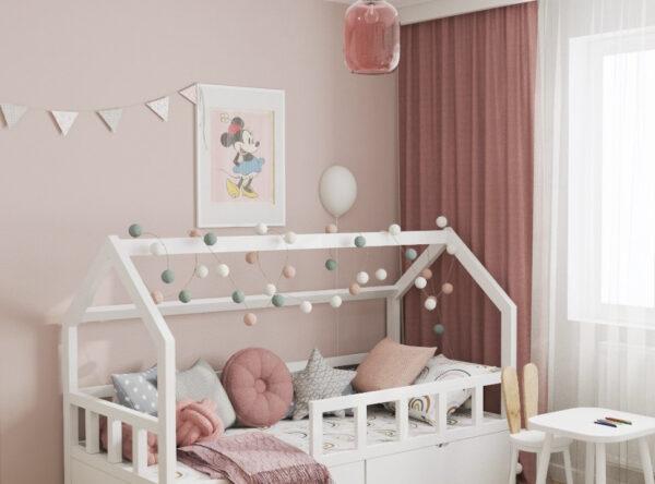 Pokój dla dziewczynki z łóżkiem w kształcie domku