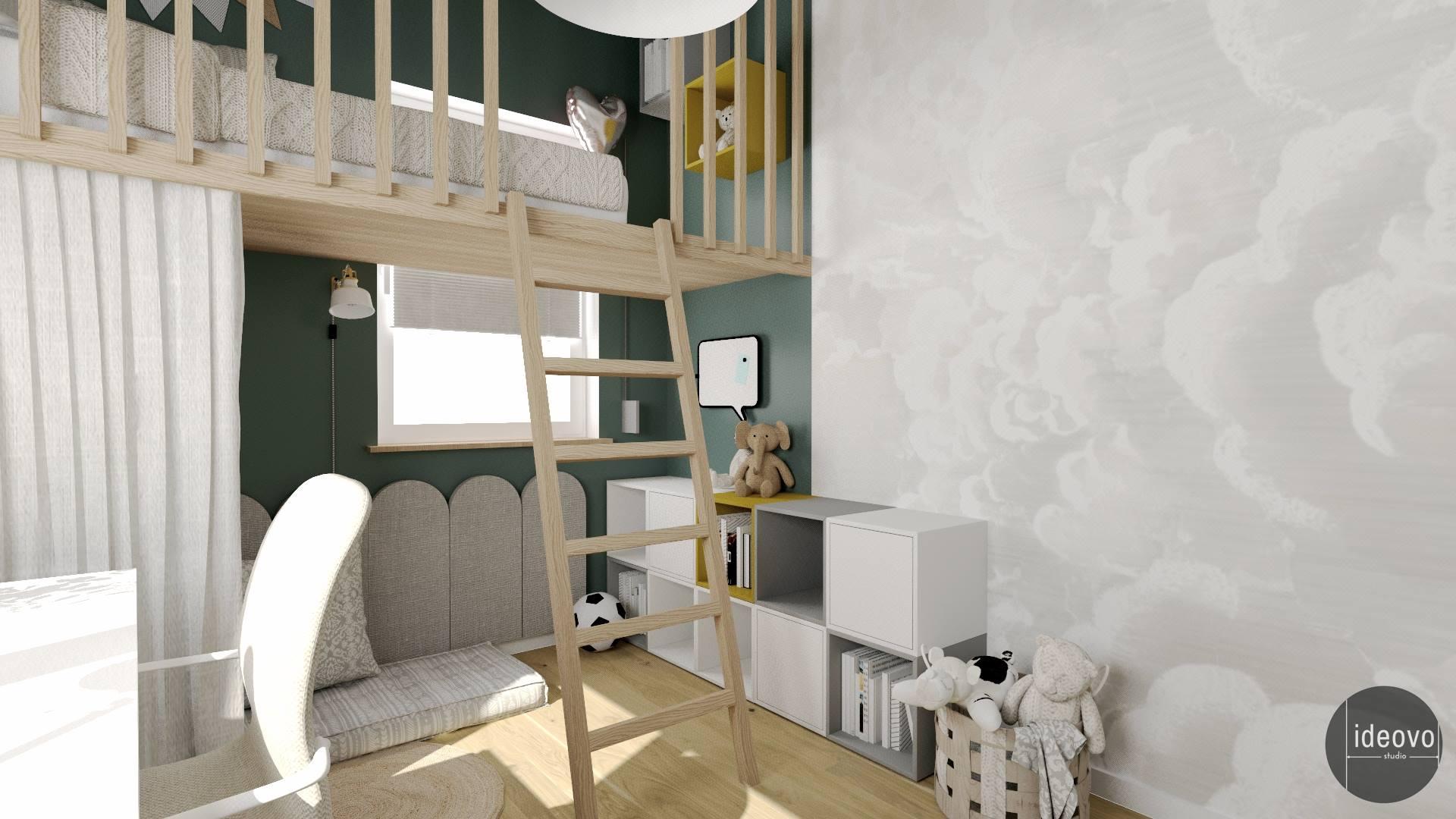 Pokój młodzieżowy z łóżkiem na antresoli